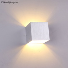 feimefeiyou 4pc/lot 85V ~ 265V 3W LED wall lighting 7 color option+Aluminum finished led lamp Square indoor light