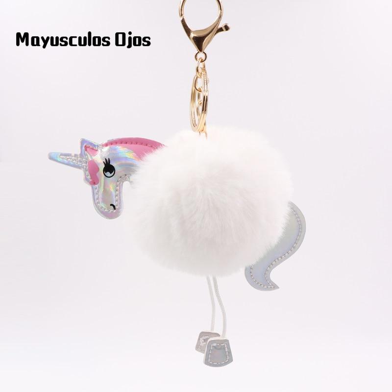 1 Pc Explosive Einhorn Keychain Hairball Anhänger Pu Leder Cartoon Pony Plüsch Tasche Keychain Spielzeug Klar Und Unverwechselbar