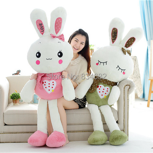 J.G Chen 1pcs Colorful Rabbit Plush Toys, Green Pink With Heart, 2 Designs, 80cm, Large Size Toys, Valentine Day Christmas Gift valentine s day heart starlight print tapestry wall hanging decoration