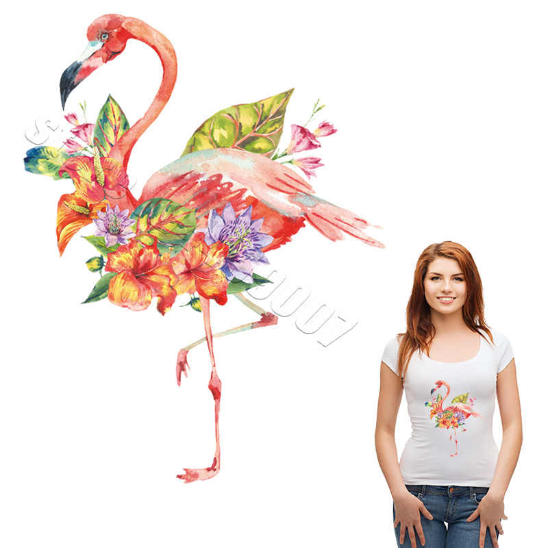Sweet Flamingo Patches For Dress Woman Handmade Household Heat Transfer Stickers New Design A-Level Washable Parches