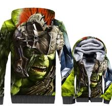 Streetwear Mens Hoodie Brand Clothing 3D Green Hulk Anime Sweatshirts Hip Hop Winter Thick Zipper Jacket Superhero Hoodies