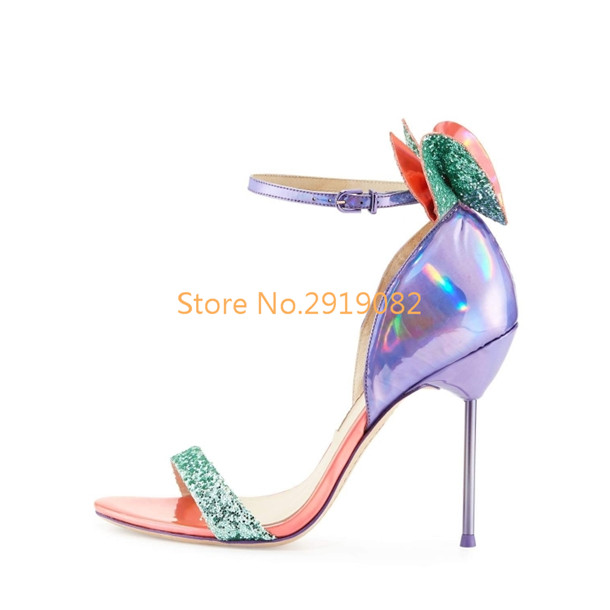 Multiple Colors Available 3D Butterfly-knot Pointed Toe Women Sandals Stilettos Sweet Fairy Summer Shoes Buckle Strap Party