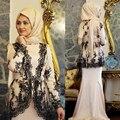 2016 Dubai Marroquino Kaftan Vestidos de Noite Mangas Compridas Muçulmano Vestido de Noite de Renda Preta Vestido de robe de soirée Formal Mulheres Hajib