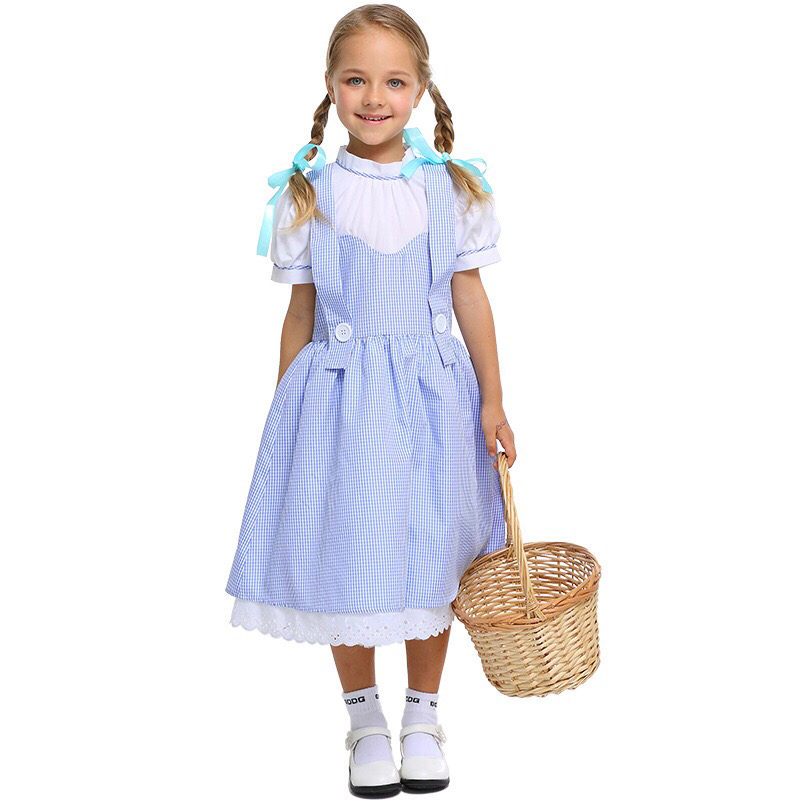 Primary Kid Girls Wizard Of Oz Dorothy Peasant Costume Child One Piece Dress Child Group Cosplay Clothing For Little Girls 4-11T