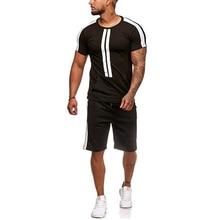 2019 Лето мужская повседневная о шея с коротким рукавом футболки шорты комплект сплошной хлопок чело