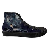 Индивидуальные волк печати Для мужчин высокие из парусины вулканизованные обувь для мужчин дышащая обувь на шнуровке Повседневное кроссов...