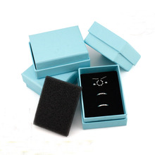 Jewelry Organizer  Box 50pcs/lot Blue Box For Jewelry Necklace Pendant Ring Carrying Cases Double Layer Sponge Jewelry Packing