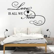 цена на Artistic English Pattern Love Wall Stickers Modern Art Wall Decoration For Home Decor Living Room Bedroom Sticker Home Decor