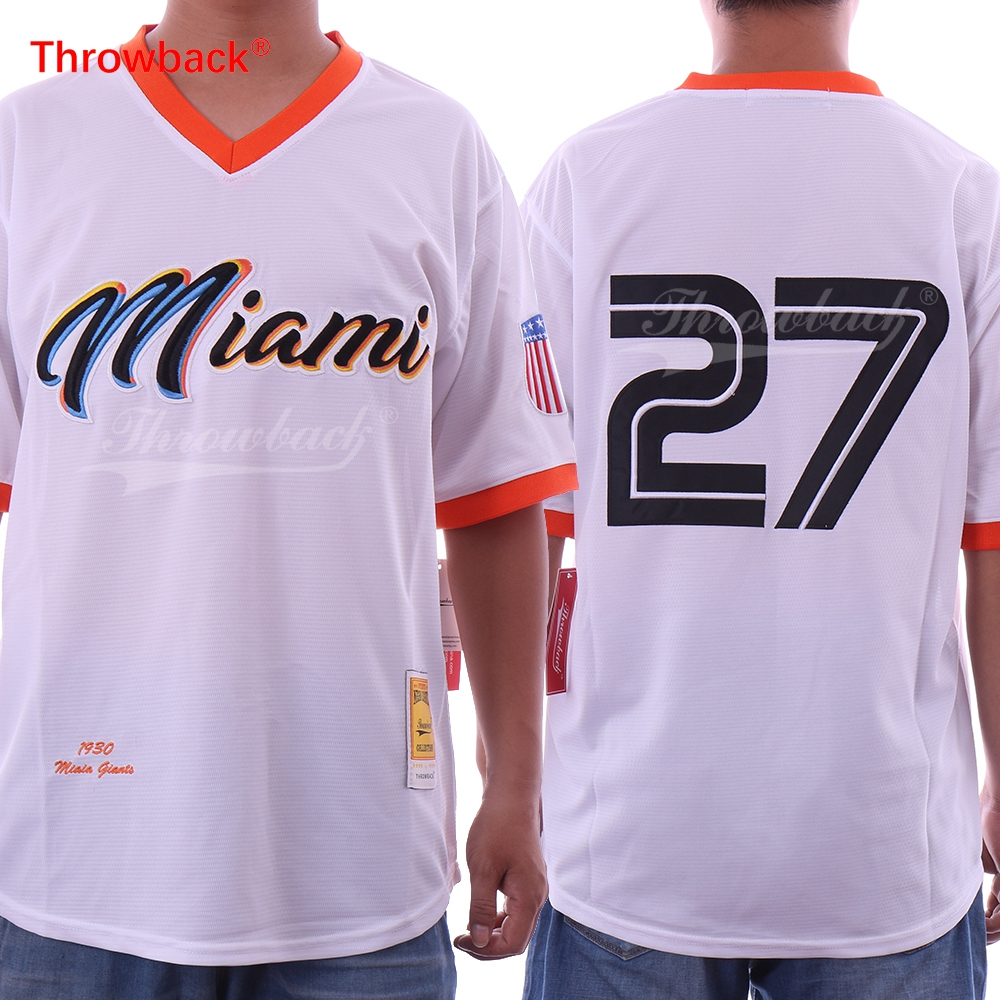 Throwback Jersey Men's Miami Jersey 27 Giancarlo Stanton Jersey Stitched White Baseball Jersey Cheap Free Shipping mens bruno mars jersey 24 24k hooligans pinstriped bet awards throwback baseball jersey man uniforms stitched button down shirt