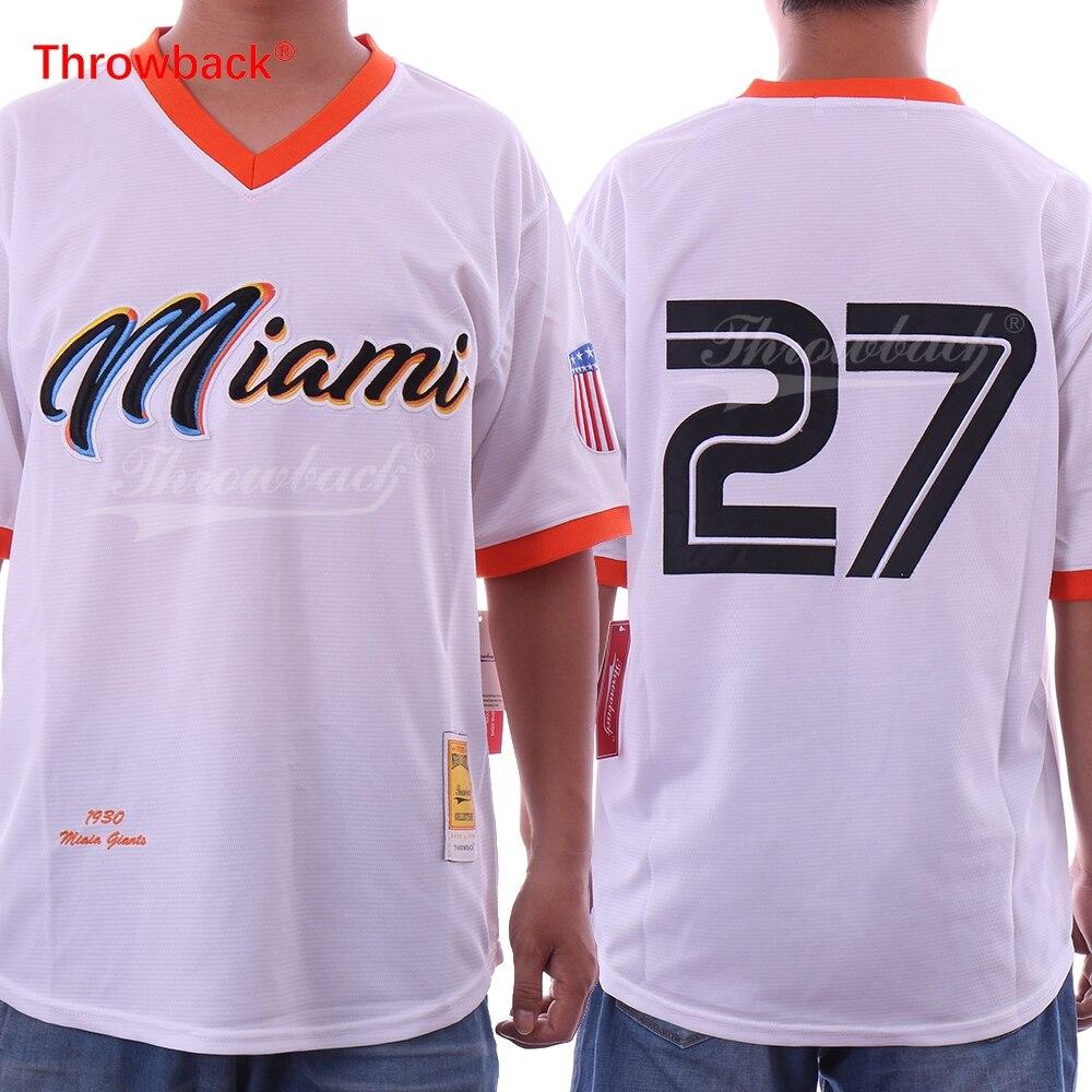 Vuelta Jersey hombres Miami Jersey 27 Giancarlo Stanton Jersey cosido béisbol blanco Jersey barato envío gratis