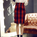 Womens Knee Office High Waisted Belted Pencil Skirt Stretch Bodycon Knee Length red plaid skirt