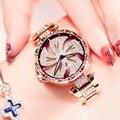 DOM Топ бренд женские часы кварцевые полностью нержавеющая сталь Кристалл браслет моды горный хрусталь роскошные золотые наручные часы водо...