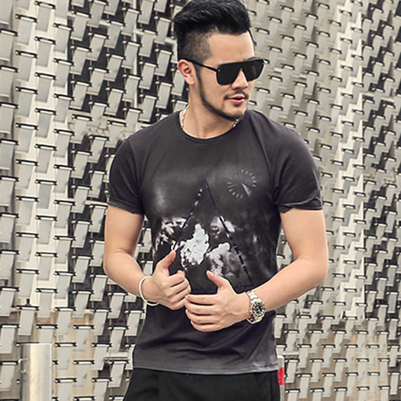 Для мужчин летняя хлопковая 3D Печатный дизайн с коротким рукавом футболка быстросохнущая пикантная обувь Для мужчин Топ, футболки, брендовая одежда Круглая горловина новый стиль