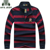 AFS JEEP Brand Clothes 2016 Autumn Casual Green Men S Polo Shirts Wide White Striped Cotton