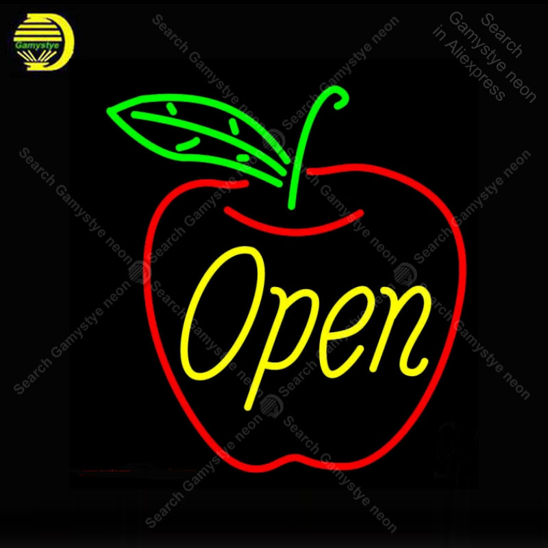 Open in Apple Neon Sign Glass Tube Handmade neon light Sign Decorate Fruit Store room Iconic Neon Light Lamp Advertise BrightOpen in Apple Neon Sign Glass Tube Handmade neon light Sign Decorate Fruit Store room Iconic Neon Light Lamp Advertise Bright