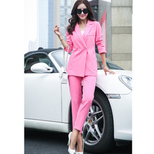 Professional female long sleeve suit pants fashion slim business ladies office wear trouser suits plus size