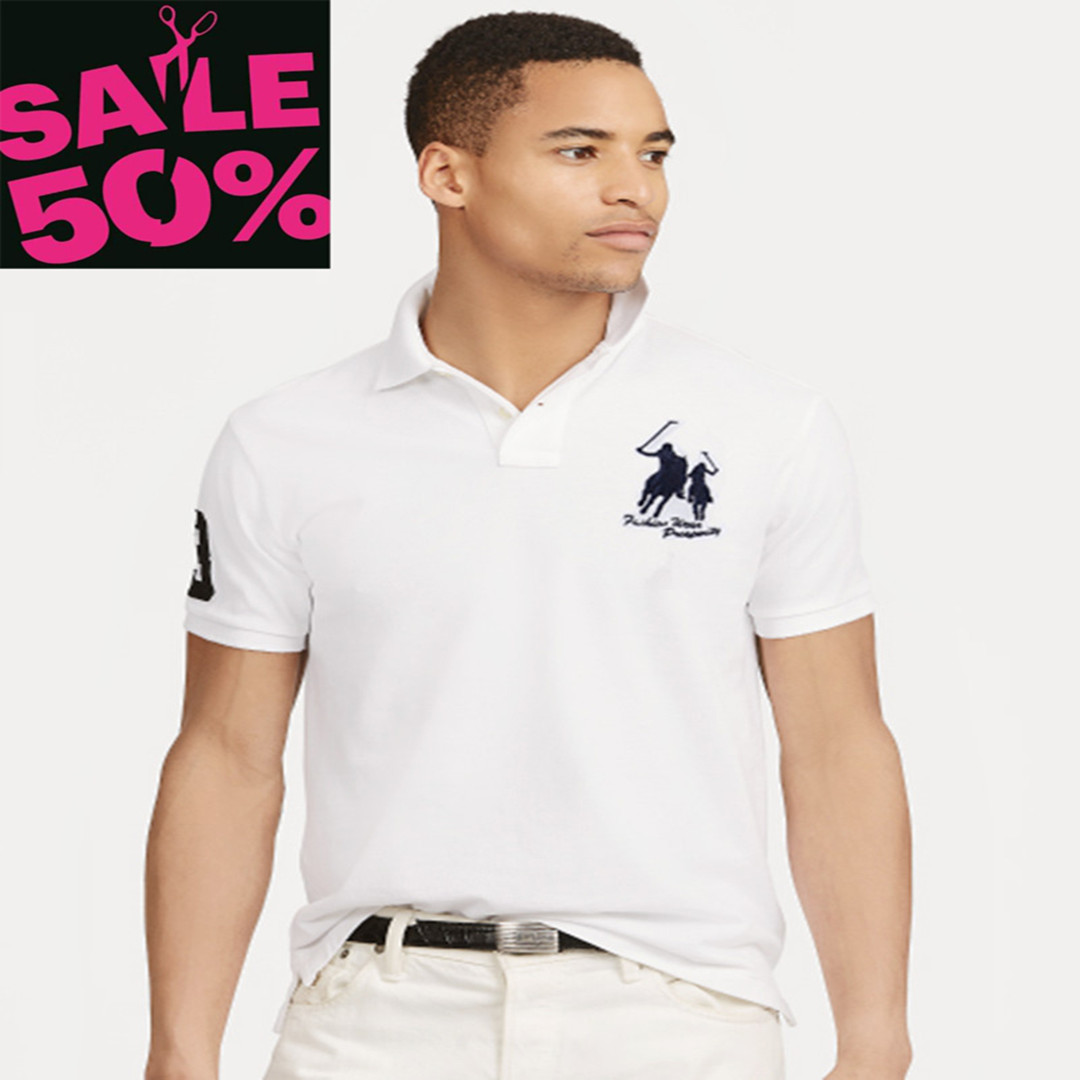 On sale 16 Colors 2019 summer 100% mesh cotton Big horse mens short sleeve polos mens shirts tops No.3 embroidery logo 2