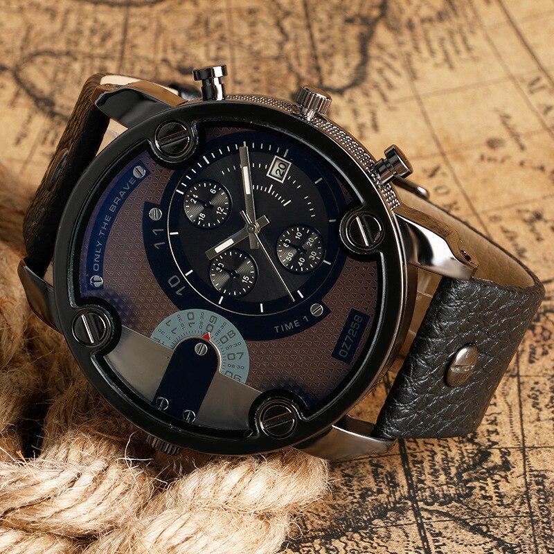 Masculino Uhren Neue OULM Uhr Männer Quarz Sport Lederband Uhren Mode Männlichen Military Armbanduhr Mode Uhr Saati