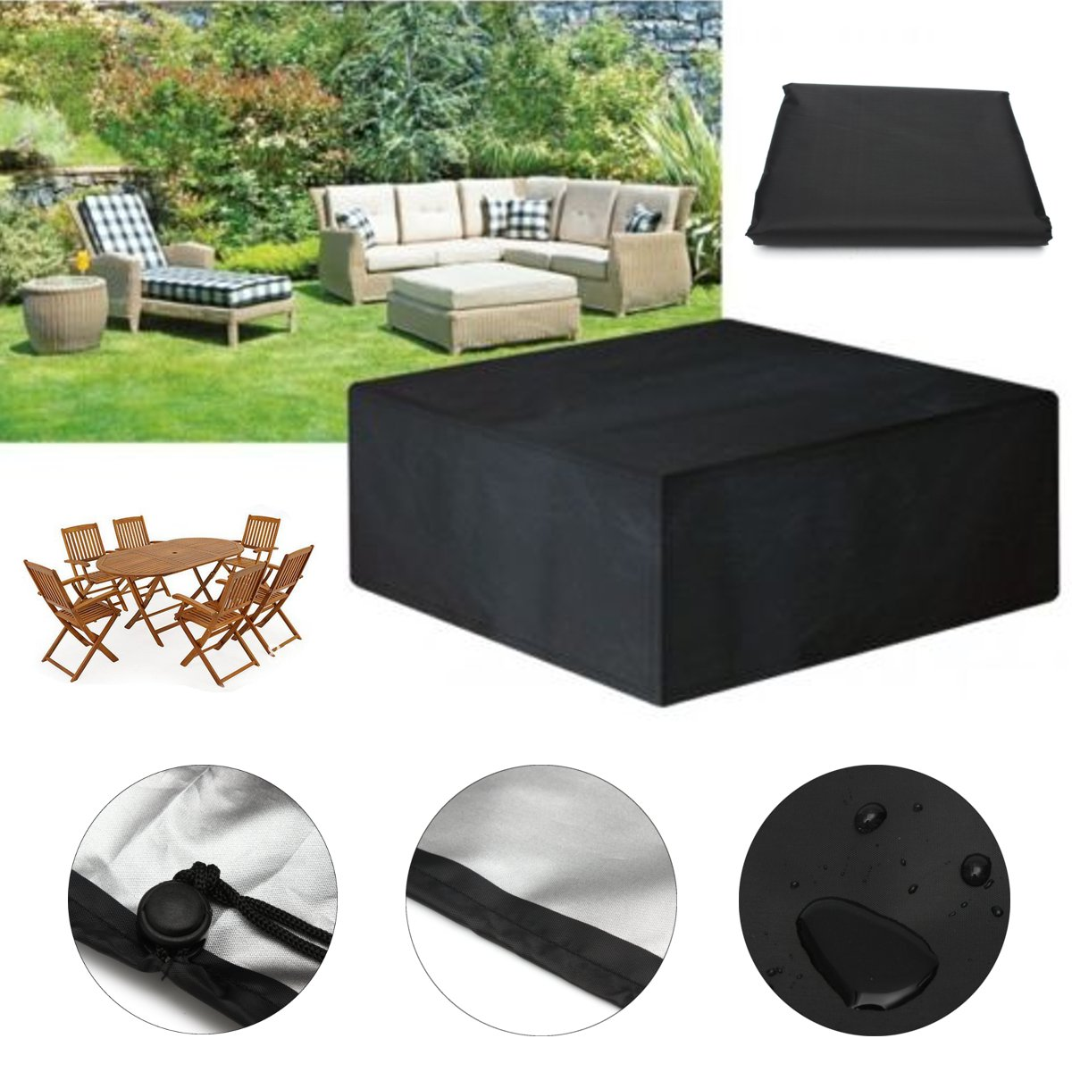 cover for outdoor furniture. Black Waterproof Outdoor Patio Furniture Set Cover Garden Chair Table Rain Dust UV Res -in Tablecloths From Home \u0026 On For N