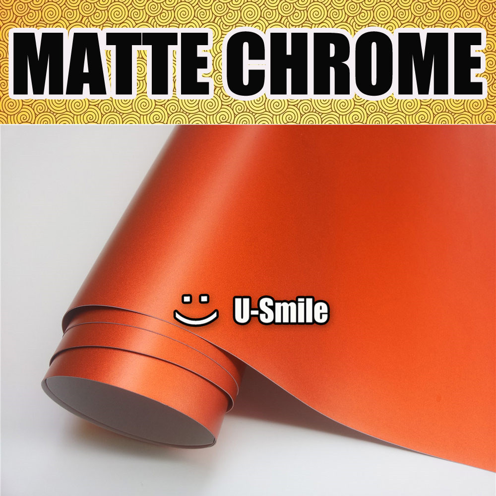 Premium Satin Matte Chrome Orange Vinyl Car Wrap Bubble Free Car Styling