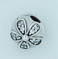 Silver bead Diy Fits for pandora bracelets SILVER CLIP WITH CUBIC ZIRCONIA 100% 925 sterling silver jewelry Charm beads BBLL K