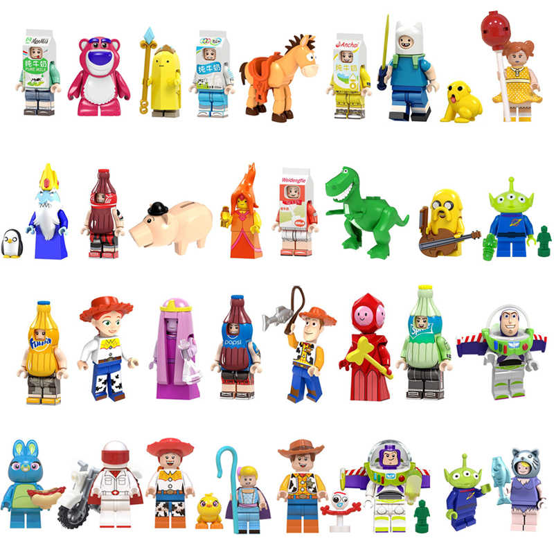 Toy Story 4 Woody Jessie Buzz Lightyear Cartoon  Alien model legoedly Figures Building Blocks Toys for Children