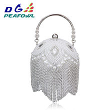 Forma de bola redonda pérola frisado borla noite bolsas ouro ombro corrente sacos festa moda artesanal casamento favor embreagem