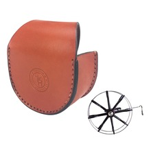 Tourbon Classic Geniune Leather Fly Fishing Reel Case Storage Pouch Durable Reel Protective Cover Accessories Wholesales