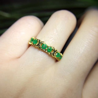 Распродажа anillos QI xuan_trendy jewelry_colombia зеленый Камни модные rings_plated желтого золота Женщина Rings_Factory непосредственно продаж
