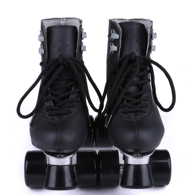 RENIAEVER Classic Black  High-Top Roller Skates  Black Polyurethane Wheels  Metal Base Free Shipping