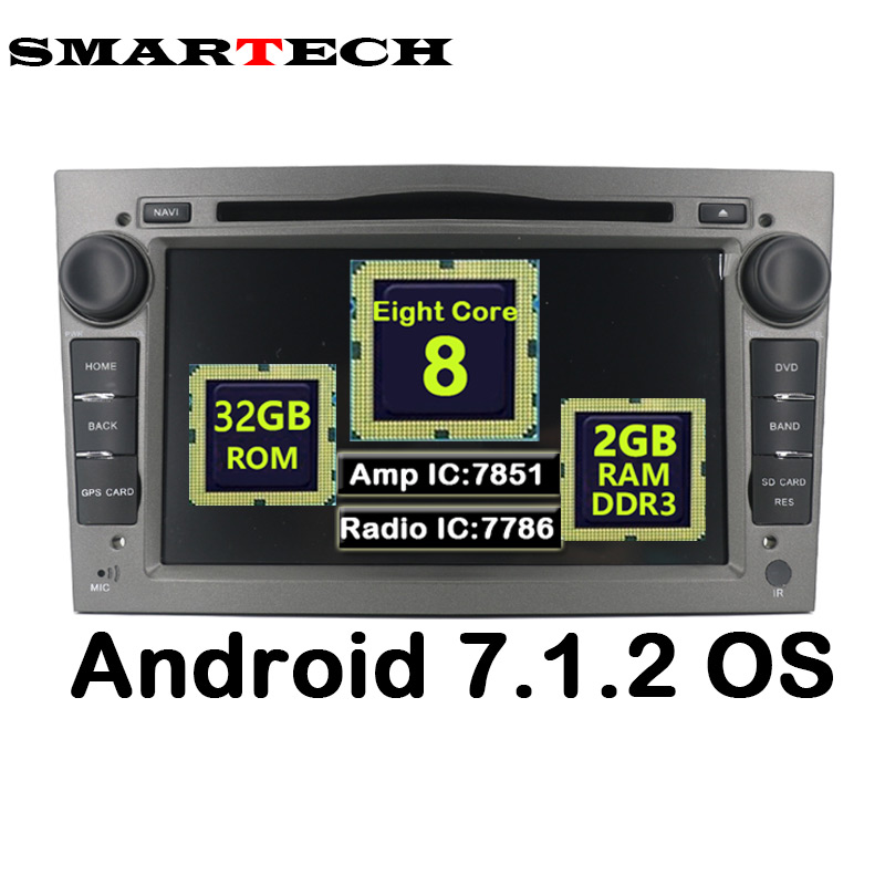Octa base Android 2G RAM 32G ROM Pour Opel Astra 2Din Voiture DVD Audio Lecteur GPS Pour Vauxhall Opel Astra Vectra Antara Zafira Corsa