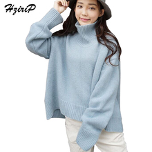 HziriP Casual Batwing Full Sleeve Women Knitted Sweaters 2017 Autumn Streetwear Solid Color Short Thin Turleneck Pullover Female