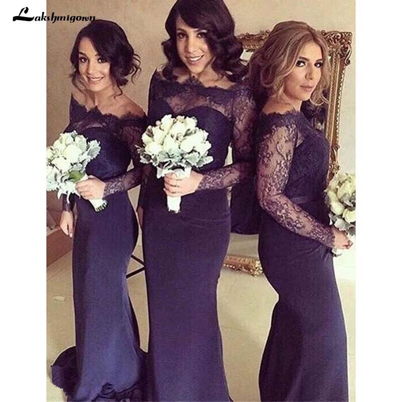Long Sleeves Lace Top Navy Blue Mermaid   Bridesmaid     Dress   Wedding Party   Dresses   Cheap   Bridesmaid     Dresses