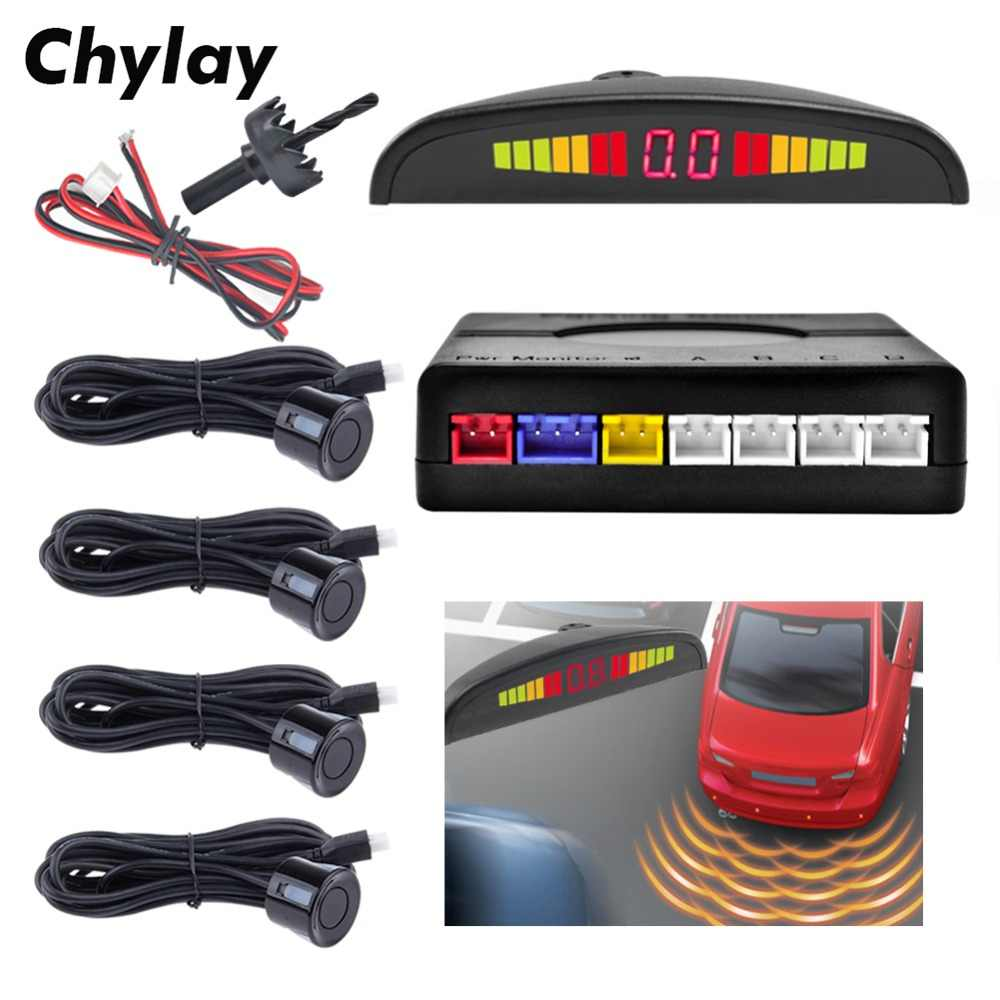 One Set Parking Sensor LED Display car reverse Backup Radar Monitor Detector System with 4 parking sensors Auto Car Parktronic