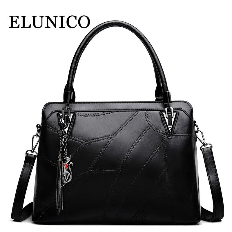 ELUNICO 2018 Spring New Women Black Fashion Handbag Lady Satchel PU Leather Tote Bags Handbags Women Famous Brands Shoulder Bag