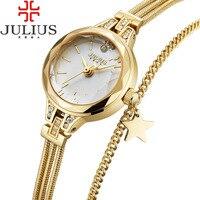 2017 JULIUS Luxury Gold Women Watches Steel Ladies Bracelet Watch Women Clock Girl Dress Wristwatch Montre