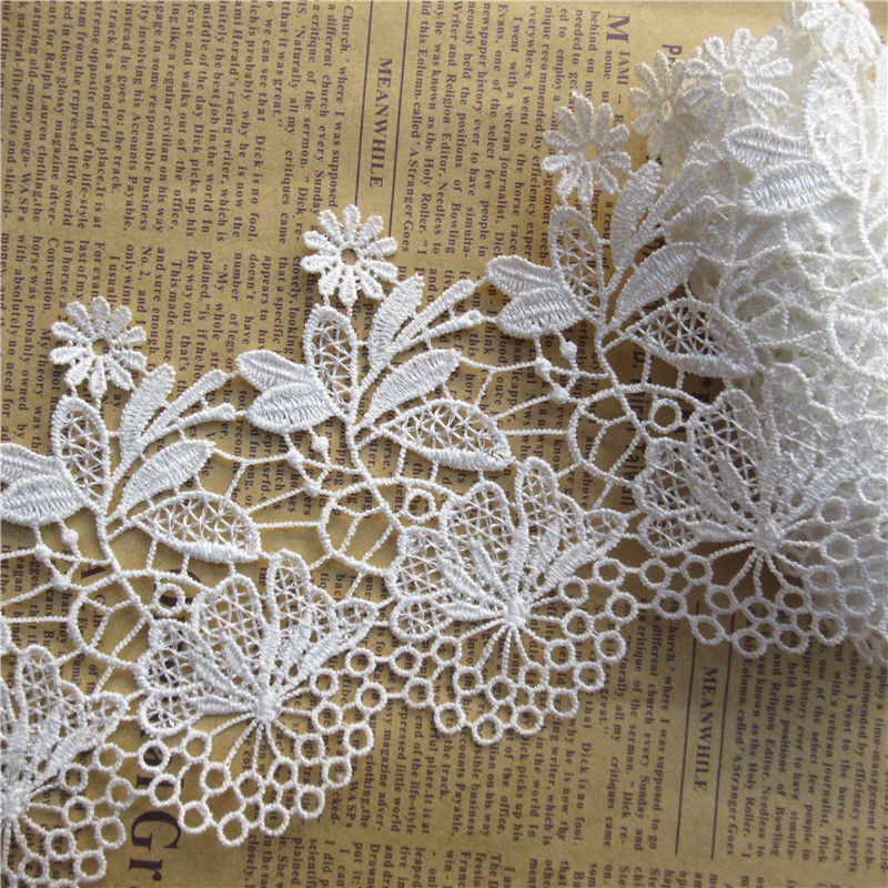 2 Yards White Vintage Cotton Crochet Water-solubility Lace Trim Ribbon Sewing-D