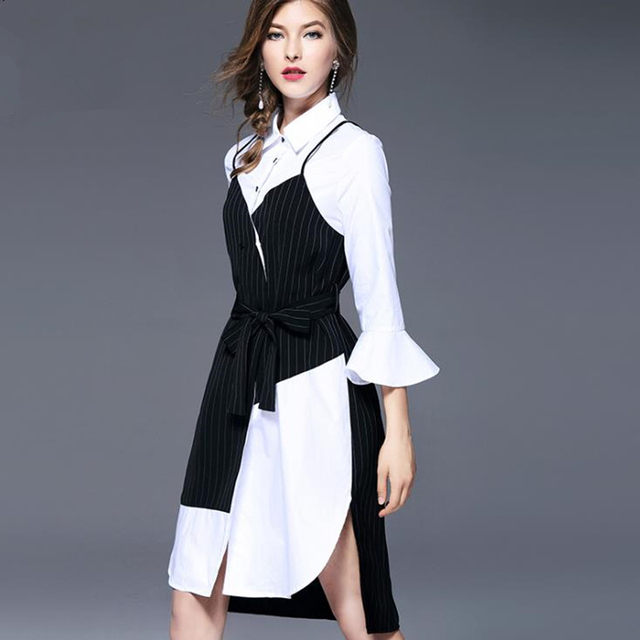 4a9afd9cde9 UNIQUEWHO Girls Women High Street Shirt Dress Asymmetric Fake Two-piece  Shirtdress Flare Sleeve Knee-Length Striped Dress Spring