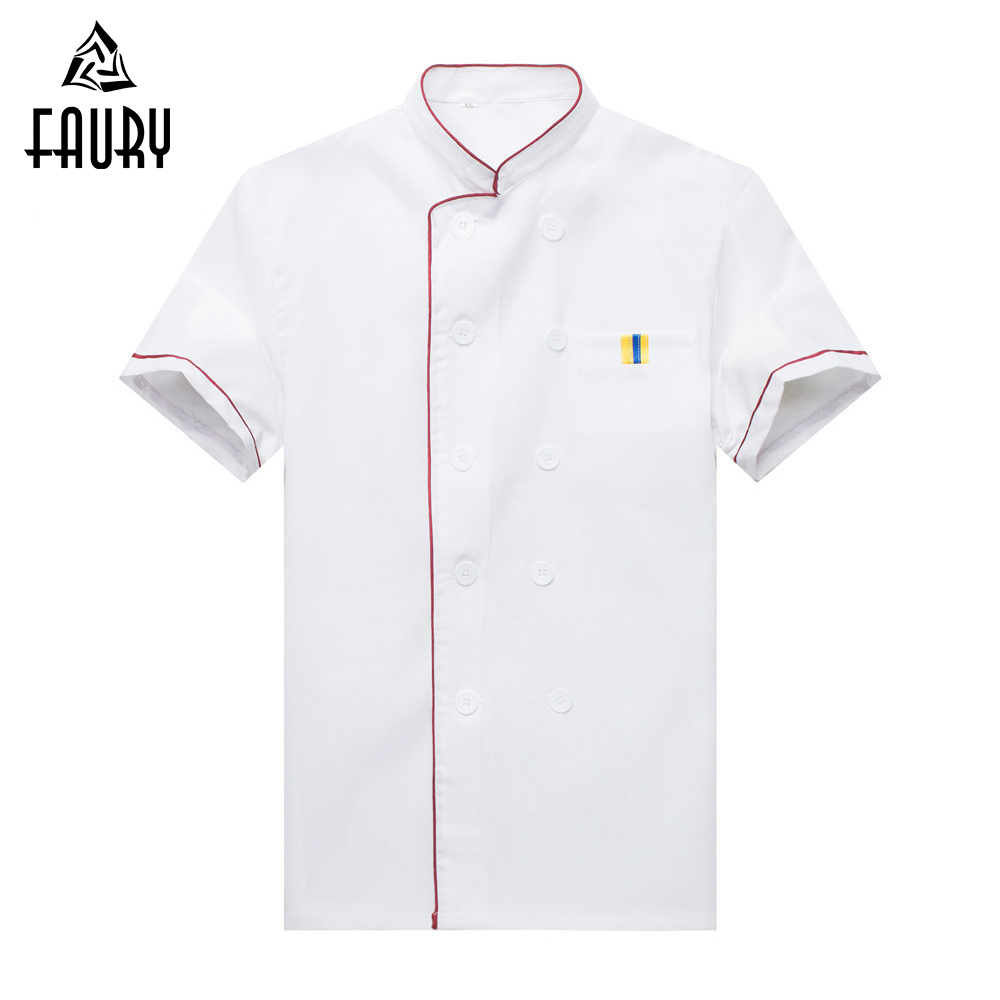 Unisex White Stand Collar Double Breasted Restaurant Cafe Hotel Waiter Short Sleeve Work Tops Chef Jacket Uniforms Apron