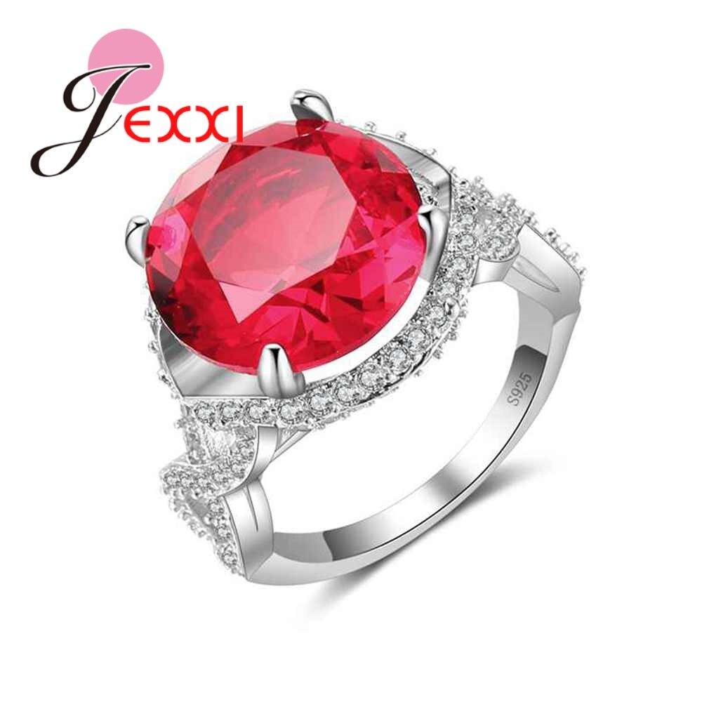 JEXXI Мода Циркон Кольца для Для женщин 2018 красный австрийского хрусталя 925 Серебряная свадьба Обручение Promise Ring изделия Bague Femme