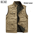 2 Side Wear New 2015 Vest Men Sleeveless Jacket Cotton Stand Collar Casual Waistcoat Gilet Spring Summer Autumn Huge size L-9XL