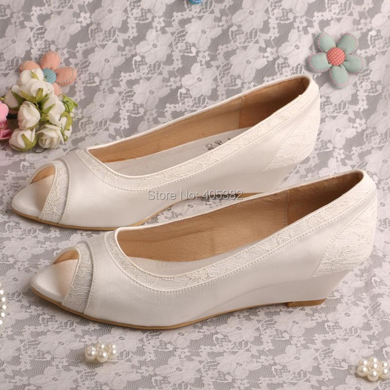wedopus women wedges ivory peep toe lace and satin 2 wedge heels wedding bridal shoes