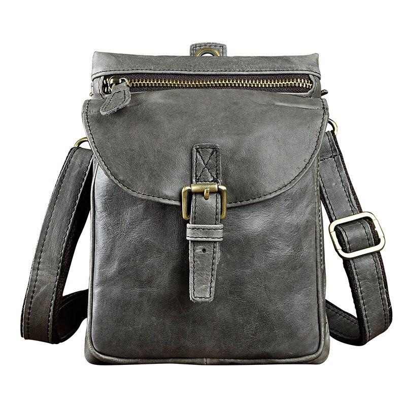 Quality Original Leather Mens Multifunction Fashion Casual Messenger Shoulder Mochila Bag Design Belt Waist Pack Bag 6552-g