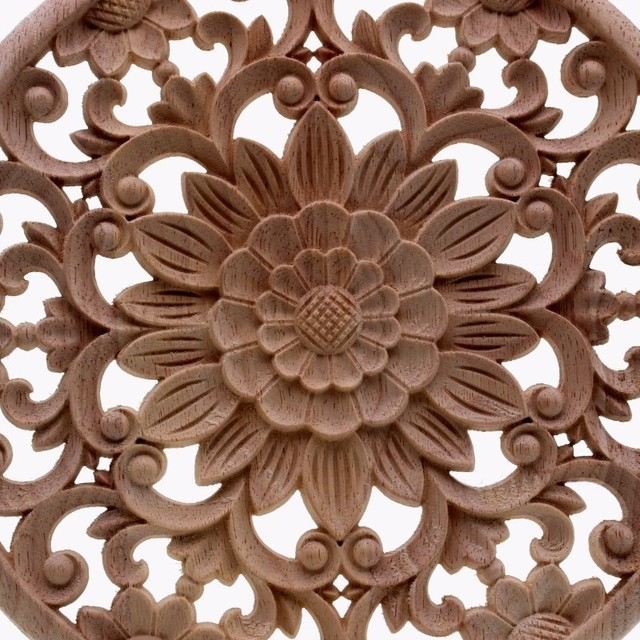 Round Flower Carved Wooden Ornament