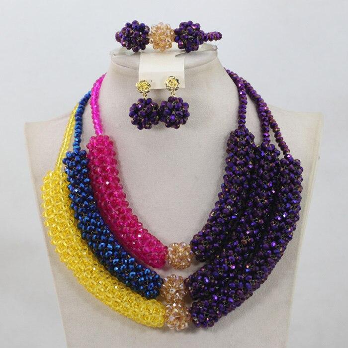 2017 Nouvelle Mode Multicolore Cristal perles Africaines Ensembles De Bijoux Cadeau De Noël pour Les Femmes Et Les Filles Nouveau Libre ShippingABH092