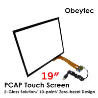 Obeytec 19 Projected Capacitive Touch Screen Sensor Glass, 4:3, USB Controller, 10touches