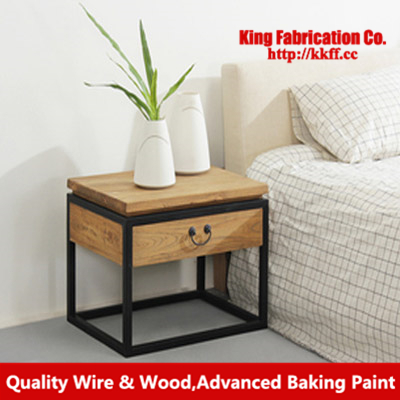 Wrought Iron Loft High End Table Coffee Solid Wood Bedside Furniture