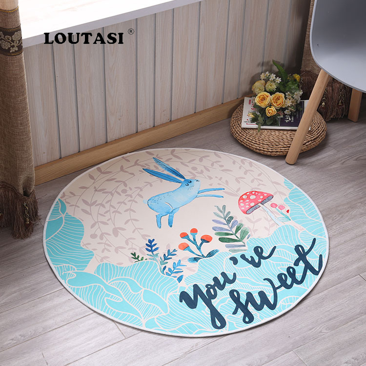 LOUTASI Cartoon Rabbit Printed Round Carpet For Living Room Computer Chair Area Rugs Children Play Tent Floor Mat Cloakroom Rug