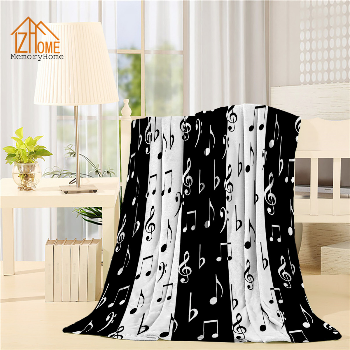 Memory Home Fleece Blanket Throw Fashionable Music Lovers Musical Notes Pattern Black White Baby Adults Super Warm Bed Blanket(China)