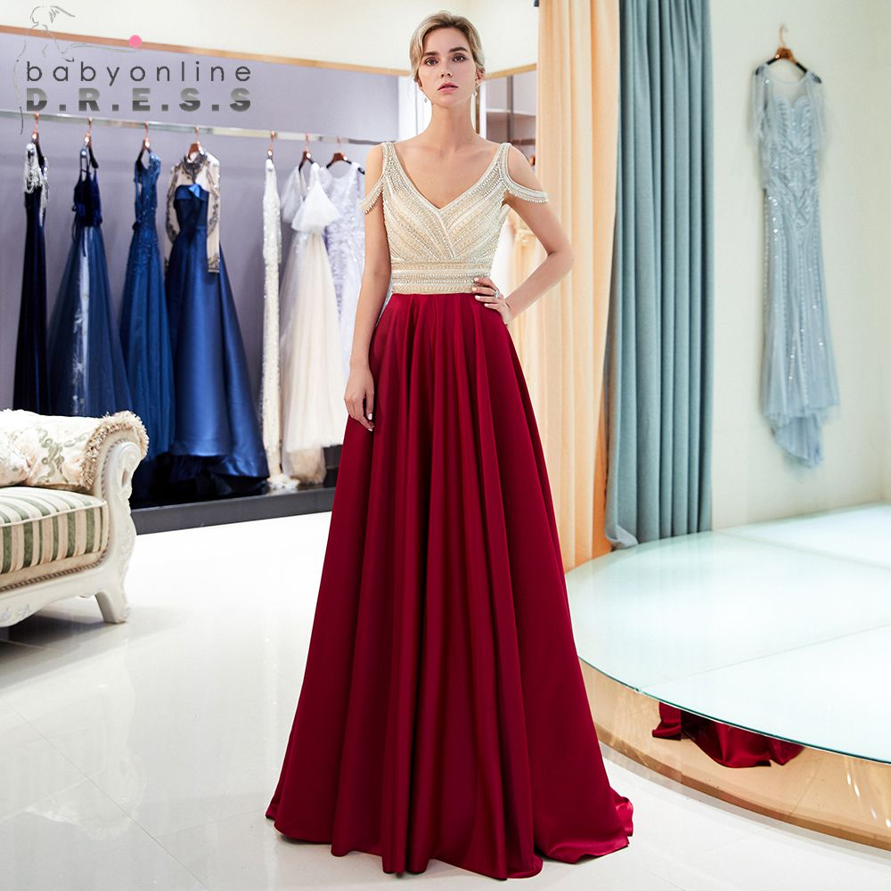 Robe de soiree Shining Beading A Line Navy Blue Burgundy   Evening     Dresses   Long 2019 Deep V Neck Chiffon Formal Prom Gowns